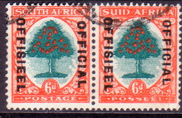 SOUTH AFRICA 1947 SG #O24d 6d In Horiz.pair Used Official Die III Green And Red-orange - South Africa (...-1961)