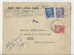 Lettre De Paris à Meaux - Affranchie à 20 Frs Et Taxée à 10 Frs - 1954 - Postage Due