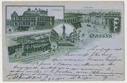 Odessa Litho Bourse Theatre Richelieu  Compagnie Russe De Navigation Used 1900 To Agimont Belgium - Ucraina