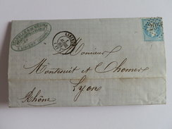 EMPIRE DENTELE 22 SUR LETTRE DE LISIEUX A LYON DU 1 AVRIL 1865 (GROS CHIFFRE 2056) - Marcophilie (Lettres)