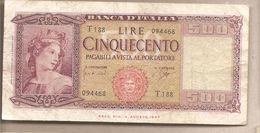 "Italia - Banconota Circolata Da 500£ ""Medusa"" P-80b - 1961 - [ 2] 1946-… : Républic"