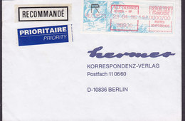 Nouvelle Calédonie PRIORITAIRE Priority & Recommandé Labels NOMEA Meter Stamp Cover EMA Lettre 1986 To BERLIN Germany - Viñetas De Franqueo