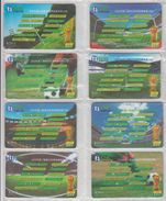 CHINA 2002 FOOTBALL WORLD CUP FULL SET OF 8 USED PHONE CARDS - Sport
