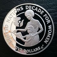 """SOLOMON ISLAND 5 DOLLARS 1985 SILVER PROOF """"Decade For Women"""" Free Shipping Via Registered Air Mail - Salomon"""