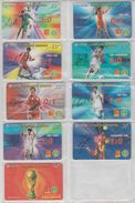 CHINA 2003 FOOTBALL WORLD CUP FULL SET OF 9 USED PHONE CARDS - Sport