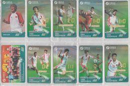 CHINA 2001 FOOTBALL WORLD CUP BORA MILUTINOVIC FULL SET OF 10 USED PHONE CARDS - Sport
