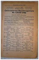 Coleopteren-Nachtragsliste Nr. CXVIII (118) - Libri, Riviste, Fumetti