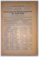 Coleopteren-Nachtragsliste Nr. CXIX (119) - Livres, BD, Revues