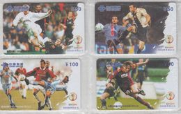 CHINA 2002 FOOTBALL WORLD CUP MICHAEL OWEN LUIS ENRIQUE TEDDY SHERINGHAM FRANCESCO TOTTI FULL SET OF 4 USED PHONE CARDS - Sport
