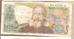 "Italia - Banconota Circolata Da 2000£ ""Galilei"" P-103b - 1976 - [ 2] 1946-… : Républic"