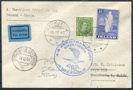 1946 Iceland Norway Reykjavik - Stavanger First Flight Cover. - 1944-... Republic