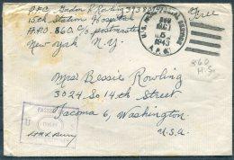 1943 Iceland USA Army Post Office Station Hospital APO 860 Censor Cover - Washington - 1918-1944 Administration Autonome
