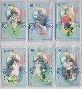 CHINA 2002 FOOTBALL WORLD CUP MICHAEL OWEN RAUL GONZALEZ ZINEDINE ZIDANE FULL SET OF 6 USED PHONE CARDS - Sport