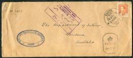 1942 Iraq Basra Censor Cover, British Consulate - Department Of Interior, Canberra, Australia. Diplomatic - Iraq