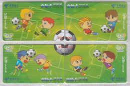 CHINA 2004 FOOTBALL OLYMPIC GAMES PUZZLE FULL SET OF 4 USED PHONE CARDS - Sport
