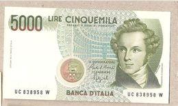 """Italia - Banconota Non Circolata FdS Da 5000£ """"Bellini"""" - 1992 - [ 2] 1946-… : Républic"""