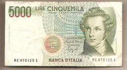 """Italia - Banconota Circolata Da 5000£ """"Bellini"""" - 1992 - [ 2] 1946-… : Républic"""