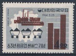 Korea South 1964 Mi 418 O Used - Symbols Industry / Fabrik Und Kohlenwagen Vor Zahnrad, Statistik - Treinen