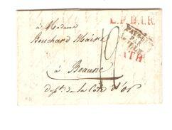 LAC écrit De Ath Pour Beaune Griffe L.P.B.1.R & Ath (R) + Pays-Bas Par Lille Port 12 PR5076 - 1815-1830 (Dutch Period)
