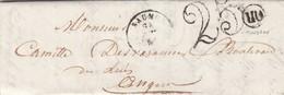 LETTRE. 23 JUIN 1851. MAINE-ET-LOIRE SAUMUR. ORIGINE RURALE  OR =  COUDRAY .  TAXE DOUBLE TRAIT 25 - 1849-1876: Periodo Clásico