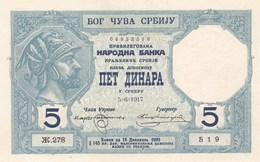 5 Dinara 1917  RR UNC Error - Serbie