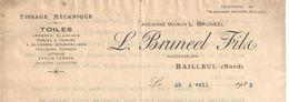 Lettre Commerciale Ancienne/Tissage Mécanique / Toiles/L Bruneel Fils/ BAILLEUL/Nord/1923        FACT234 - Textile & Vestimentaire