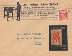 LETTRE. 7 7 53. PUBLICITE LES FOURS TRANCHANT ET VIGNETTE FOIRE DE LEIPZIG POUR PARIS - Postmark Collection (Covers)