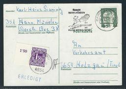TAXE Postkarte HANN. MÜNDEN 29.7.71 Nach HOLZGAU / Tirol Mit MiNr. BRD 637 + Portomarke Österreich MiNr. 251 - Segnatasse