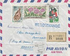 Congo 1963 Komono Deepsea Fish Caulolepis Longidens Helicrysum Flower Registered Cover - Congo - Brazzaville