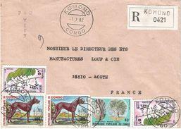 Congo 1982 Komono Danish Dog Baobab Tree Flower Registered Cover - Congo - Brazzaville