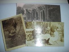 UNIQUE !! LOT 3 PHOTOS ET CPA - ANSEREMME ( DINANT ) - FAMILLE FABRY - TERRASSE DE L'HOTEL ( VERS 1920 ) - Dinant