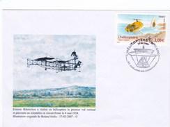 Enveloppe OEhmichen émission Timbre Hélicoptère PA YT 70. Dessin De R. Irolla - France