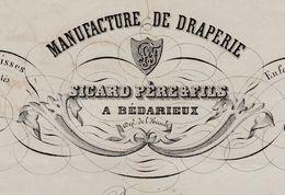 Facture 1858 / SICARD Père & Fils / Manufacture De Draperie / 34 Bédarieux / Hérault - France