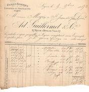 Facture Ancienne/ Châles Soieries/ Mézin Saint Jean Du Gard/Guillermet & Cie/rue Hôtel De Ville/LYON/1892   FACT243 - Textile & Vestimentaire