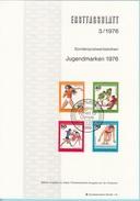 "Berlino 1976 Sc. 9NB124-25-26-27. Ersttagsblatt N. 3 ""Jugendmarken"" FDC Sheet Germania Preolimpiadi - Francobolli"