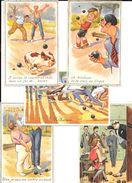 PETANQUE - 5 Cartes D'illustrateurs Divers Sur Le Thème Du JEU DE BOULES - Pétanque