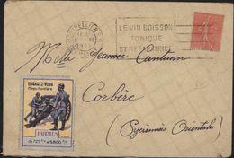 YT 199 Semeuse Lignée Rose Flamme Vin Boisson Tonique Vignette Militaria Engagement Troupes D'Afrique Corps Frontière - Postmark Collection (Covers)
