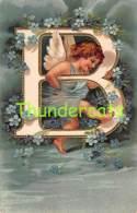 CPA EN RELIEF GAUFREE LETTRE ALPHABET ANGE EMBOSSED CARD LETTER B ELLEN CLAPSADDLE - Anges
