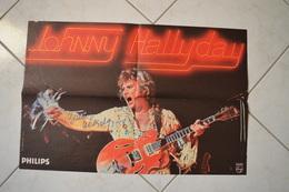 JOHNNY HALLYDAY Affiche Avec Autographe - Handtekening