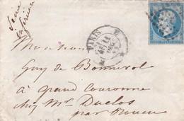 """LAC  +  C.A.D  N° 1521 PARIS  """"E """" GL   DU 11 DEC 1859  Pour GRAND COURONNE (74) - 1849-1876: Classic Period"""