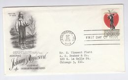1966 Leominster Ma USA FDC APPLE Fruit Johnny Appleseed Stamps Cover By Art Craft - Fruits