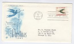 1965 Silver Bell Az USA FDC CHRISTMAS Stamps Cover By Art Craft - Christmas