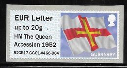 Guernsey Post & Go ATM - Flag - HM The Queen Accession 1952 Overprint - EU Letter 20g MNH - Guernesey