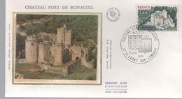 FDC -  Enveloppe 1er Jour CHATEAU FORT DE BONAGUIL - 10 JUILLET 1976 - St FRONT SUR LEMANCE - 1970-1979