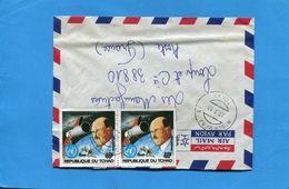 Marcophilie-lettre-TCHAD- >France-cad 1983+2 Stamps--N°401space-navette-A H GOOBARD - Tchad (1960-...)
