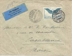 1927 LAUSANNE LA SALLAZ Lettre Poste Aérienne Pour Casablanca Maroc, Via Genève Poste Aérienne. - Luftpost