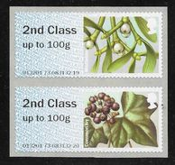 Great Britain - Post & Go - Winter Berries - Mistletoe / Common Ivy - CL17 Date - 2nd Class Pair MNH - Gran Bretaña