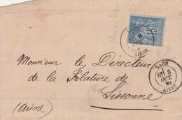Yvert 90 Bleu Sur Bleu  Sage Lettre  LAON 8/10/1880 à Sissonne Aisne - Poststempel (Briefe)