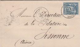 Yvert 90 Sage Lettre  LAON 1/12/1881 Pour  Sissonne Aisne - Poststempel (Briefe)