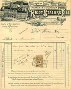 Fabrique De Toile, Sacs Et Bâches, Ets RIGOT-STALARS , LILLE, Place Aux Bleuets, 1914 - Textile & Vestimentaire